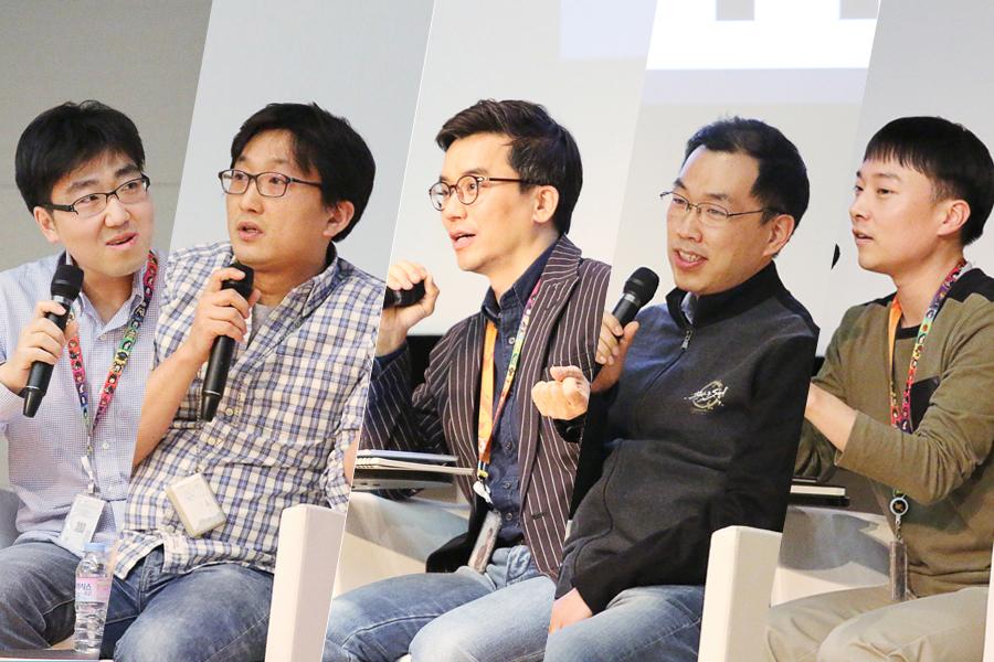 엔씨소프트 AI CENTER   왼쪽부터 이경종 팀장, 이준수 TD, 이재준 AI 부센터장, 정지년 차장, 장한용 과장