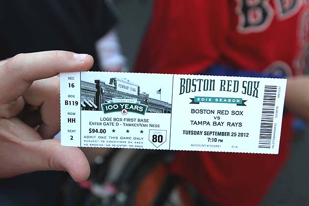 BOSTON - SEPTEMBER 25: A game ticket that reflects the coming end of the season. Boston Red Sox fans are coming to the close of another season. (Photo by Jonathan Wiggs/The Boston Globe via Getty Images)