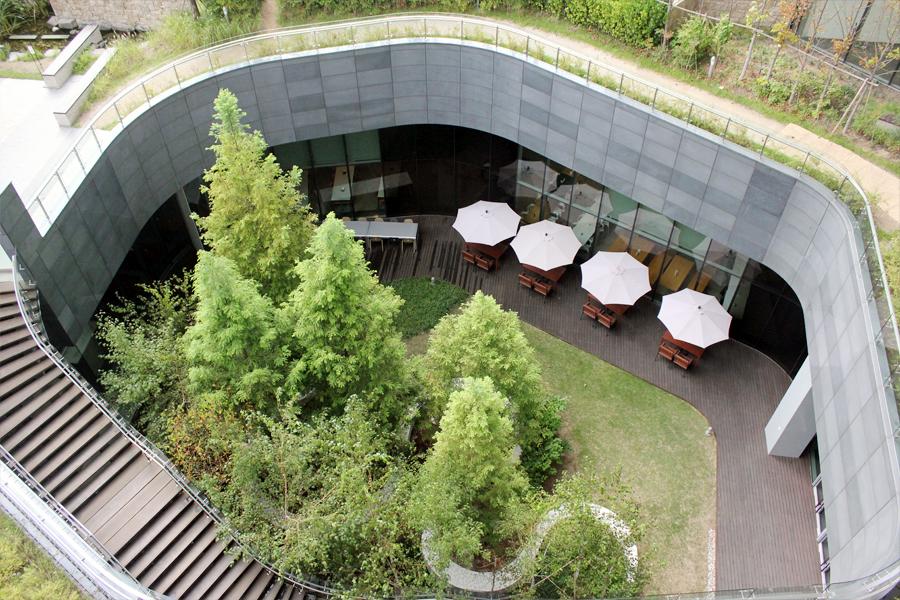 옥상에서 내려다보이는 엔씨푸드코트 중앙의 선큰 가든인 햇빛정원