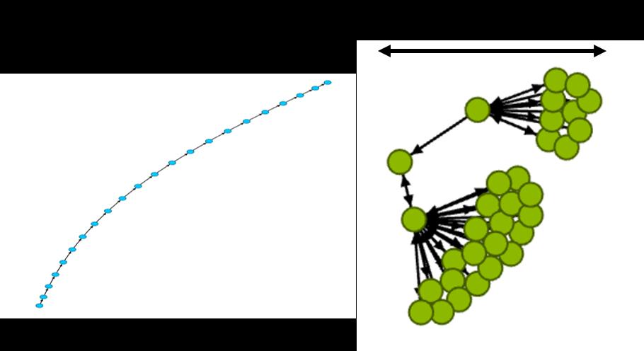 그림 7. Radius가 큰 네트워크(왼쪽)와 작은 네트워크(오른쪽) 예시