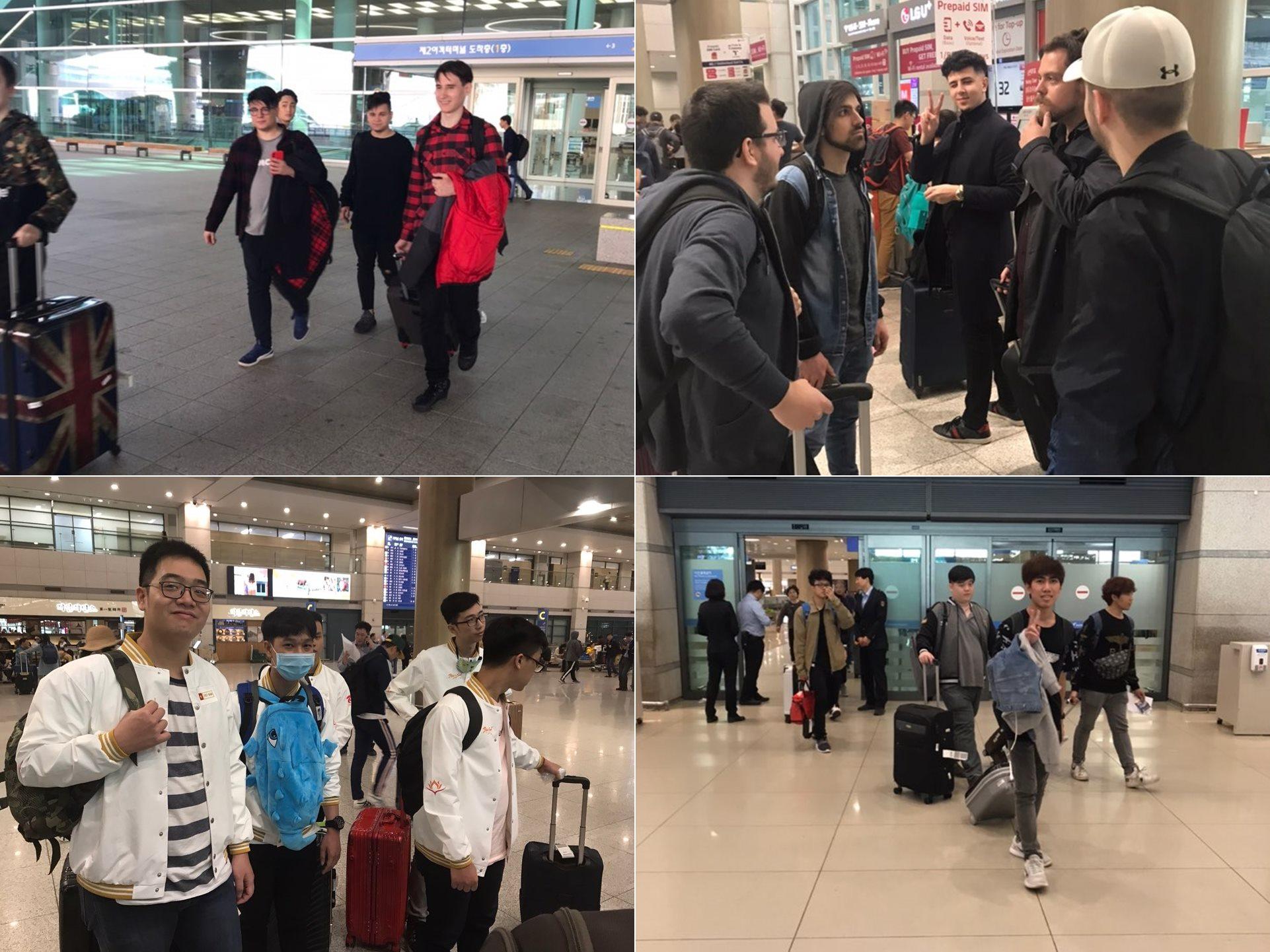 [사진 1] 월드 챔피언십을 위해 입국하는 러시아, 유럽, 태국, 베트남 선수들 모습(왼쪽 위부터 시계방향으로)